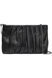 Halston Heritage Woman Gathered Leather Clutch Black