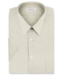 Van Heusen Poplin Solid Short Sleeve Dress Shirt Stone
