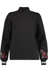 Mother Of Pearl Cassie Embroidered Cotton And Modal Blend Neoprene Sweatshirt Black