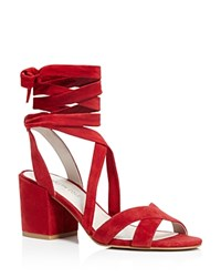 Kenneth Cole Victoria Strappy Lace Up Mid Heel Sandals Rosso