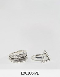 Designb London Feather And Triangle Ring In 2 Pack Exclusive To Asos Silver