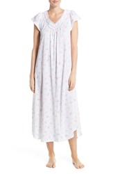 Women's Carole Hochman Designs Floral Cotton Long Nightgown Bouquets White