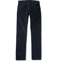 Canali Slim Fit Cotton Blend Corduroy Trousers Blue
