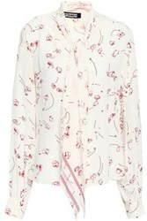 Rockins Pussy Bow Printed Silk Crepe De Chine Shirt Off White Off White