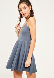 Missguided Blue Strappy Skater Dress