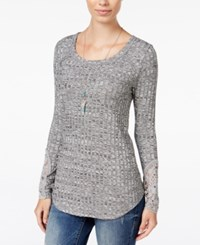American Rag Ribbed Crocheted Sleeve Tunic Only At Macy's Classic Black