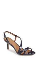Women's Calvin Klein 'Lorren' Leather Sandal Navy Patent