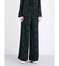 Mcq By Alexander Mcqueen Wide Leg Circle Print Trousers Evergreen