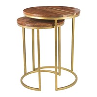 Amara Wooden Nesting Coffee Tables Round Set Of 2
