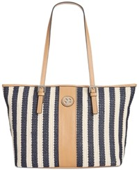 Giani Bernini Striped Straw Tote Only At Macy's Navy Natural