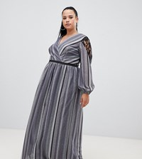 Little Mistress Plus Wrap Front Lace Insert Maxi Dress In Metallic Stripe Black