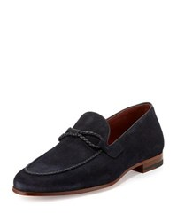 Magnanni Suede Loafer With Woven Leather Strap Navy