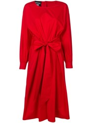 Boutique Moschino Belted Midi Dress Red