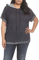Vince Camuto Plus Size Ribbed Trim Short Sleeve Hoodie Obsidian