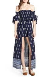 Band Of Gypsies Summer Bloom Smocked Maxi Romper Navy White