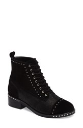 Marc Fisher Women's Ltd Cassidey Studded Cap Toe Bootie Black Suede
