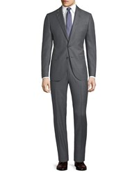 Neiman Marcus Micro Dotted Two Piece Wool Suit Light Gray