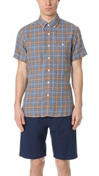 Todd Snyder Short Sleeve Linen Check Shirt Brown