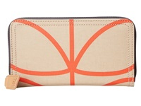 Orla Kiely Matt Laminated Giant Linear Stem Print Big Zip Wallet Stone Wallet Handbags White