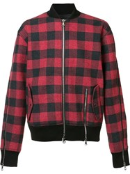 Mostly Heard Rarely Seen Plaid Bomber Jacket Red