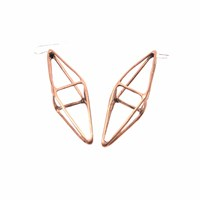 Mikinora Octahedron Earrings Bronze Gold Brown Nude