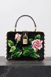 Dolce And Gabbana Box Embellished Embroidered Velvet Watersnake Tote Black
