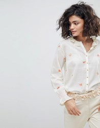 Intropia Buttondown Blouse With Embroidered Bouquets Cream