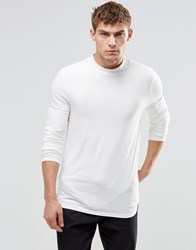 Asos Muscle Long Sleeve T Shirt With Turtle Neck White
