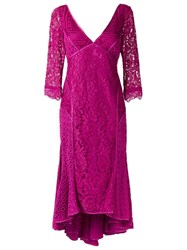 Martha Medeiros V Neck Lace Dress Pink And Purple