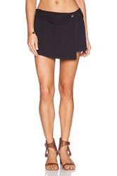 Michael Stars Asymmetrical Wrap Skort Black