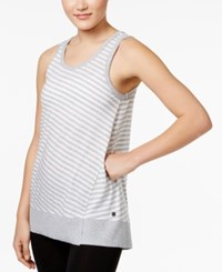 Calvin Klein Performance Venice Beach Striped Keyhole Back Tank Top Pearl Heather