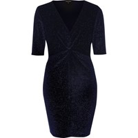 River Island Womens Navy Sparkly Velvet Knot Dress