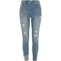 River Island Womens Mid Blue Molly Ripped Seam Super Skinny Jeans