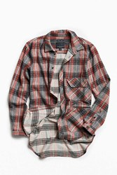 Fried Rice Corozo Long Tail Flannel Button Down Shirt Red