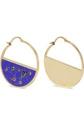 Noir Jewelry Woman 14 Karat Gold Plated Crystal And Stone Hoop Earrings Gold