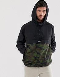 Bershka Overhead Windbreaker Jacket With Camo Print In Black Black
