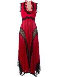 Gucci Plisse Pleated Lace Insert Gown Red