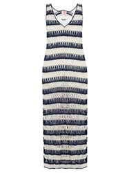 Anna Kosturova Bardot Crochet Maxi Dress Blue White