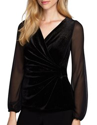 Alex Evenings Velvet Mock Wrap Top Black