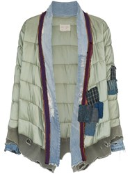 Greg Lauren 'Padded Kimono' Patchwork And Quilted Jacket Green