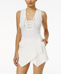 Material Girl Juniors' Chain Detail Lace Up Skort Romper Only At Macy's Cloud Dancer