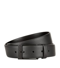 Harrods Of London Grain Leather Belt Unisex Black