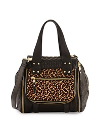 Ash Mick Colorblock Leopard Calf Hair Satchel Bag Black