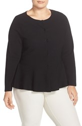 Plus Size Women's Ellen Tracy Peplum Crewneck Cardigan