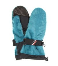 Moncler Shearling Leather Gloves Blue