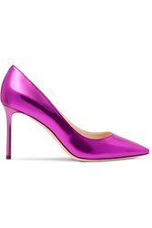 Jimmy Choo Romy Mirrored Leather Pumps Magenta
