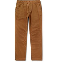 Norse Projects Josef Striped Herringbone Cotton Trousers Brown