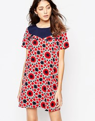 Noisy May Aubrey Western Star Dress Black Iris Red