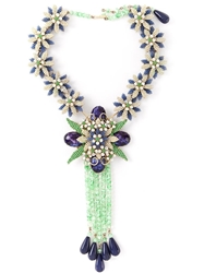Katheleys Vintage Flower Costume Necklace Blue