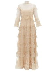 Valentino Beaded Tiered Tulle Gown Gold